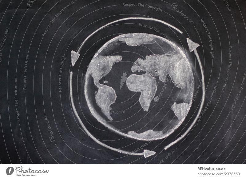Tafelzeichnung | Weltkugel Kreislauf Umwelt Klima Klimawandel Globus Erde Idee innovativ Kreativität Umweltverschmutzung Umweltschutz Recycling Kreide Zeichnung