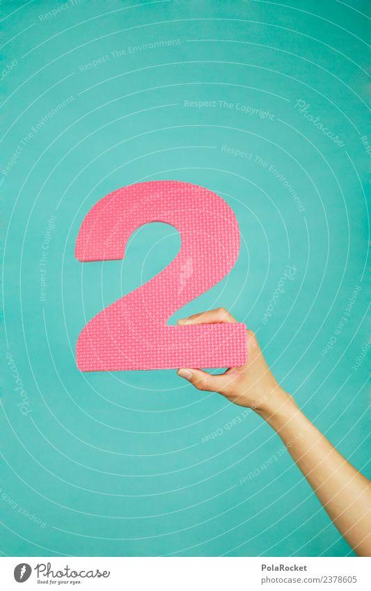 #A# Number Two Kunst ästhetisch 2 Zweig zweifarbig rosa Ziffern & Zahlen Nummerntafel festhalten Grafische Darstellung graphisch Farbfoto mehrfarbig