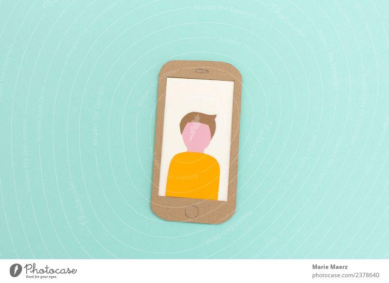 Handy-Display mit männlichem Profilbild PDA Telekommunikation Mensch maskulin Mann Erwachsene 1 Kommunizieren machen Freundlichkeit trendy modern nerdig türkis