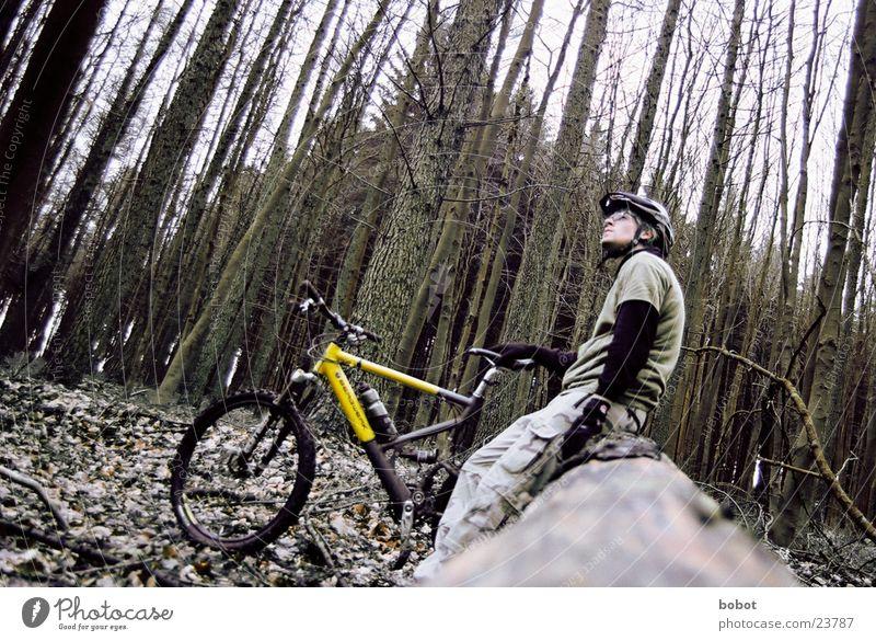 Gleich gehts weiter Mountainbike Fahrrad Wald Blatt Holz Baumrinde transpirieren Ausdauer Suspension innehalten Verkehr Scheibenbremsen Uphill Downhill X-trial