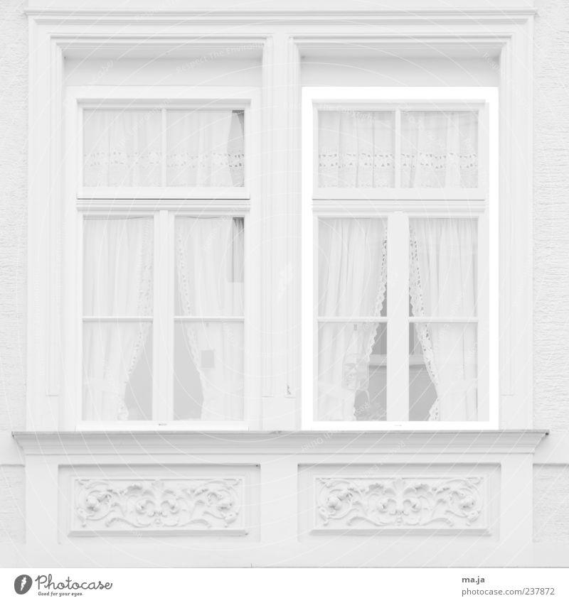 Weisser Dank (München, Waltherstraße I) alt weiß Haus Fenster Architektur Gebäude Stein hell Dekoration & Verzierung einzigartig historisch Gardine Altbau Stuck Schwarzweißfoto