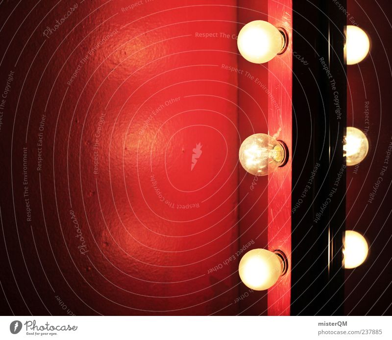 Show must go on. Kunst ästhetisch Theater Spiegel Bühnenbeleuchtung Licht Glühbirne rot Rotlichtviertel Rotlichtlampe Veranstaltung Beleuchtung Nachtleben