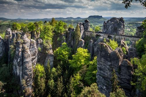 Ausflug Ferien & Urlaub & Reisen Tourismus Abenteuer Ferne Sommer Sommerurlaub wandern Natur Landschaft Wald Hügel Felsen Elbsandsteingebirge Deutschland