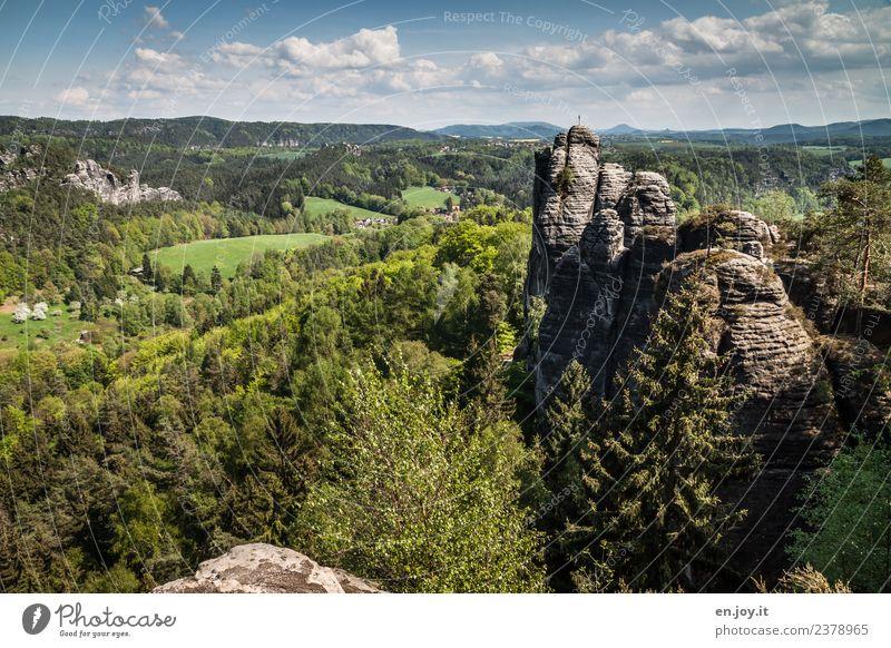 Felsblick Himmel Natur Ferien & Urlaub & Reisen Sommer grün Landschaft Ferne Wald Tourismus Felsen Ausflug wandern Horizont Abenteuer Schönes Wetter Hügel