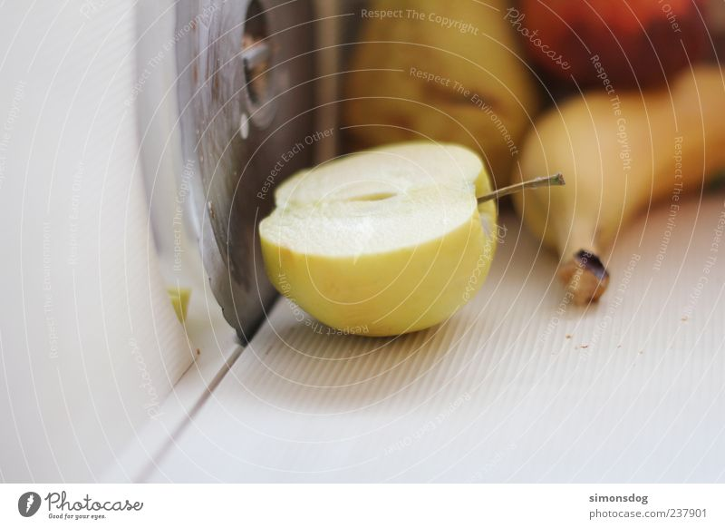 obstschneider Frucht Ernährung Duft frisch Gesundheit saftig süß Leichtigkeit Natur Apfel Banane Birne Pfirsich Brotschneidemaschine Messer grün leuchten