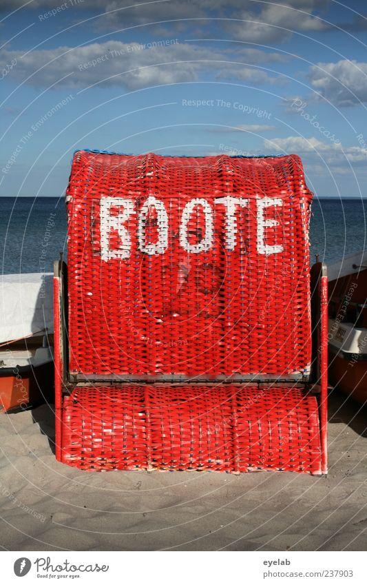 Der Götter... Himmel rot Meer Sommer Strand Freude Wolken ruhig Erholung Sand Horizont Wasserfahrzeug Zufriedenheit Freizeit & Hobby Schriftzeichen