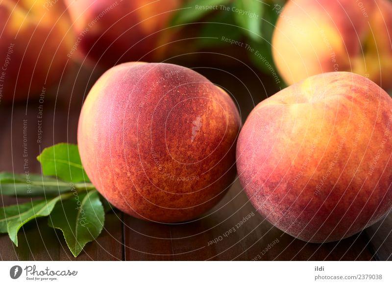 Frische reife Pfirsiche Frucht Ernährung frisch Gesundheit saftig Lebensmittel Steinfrucht Erfrischung Snack süß roh unscharf horizontal Zerreißen Textur