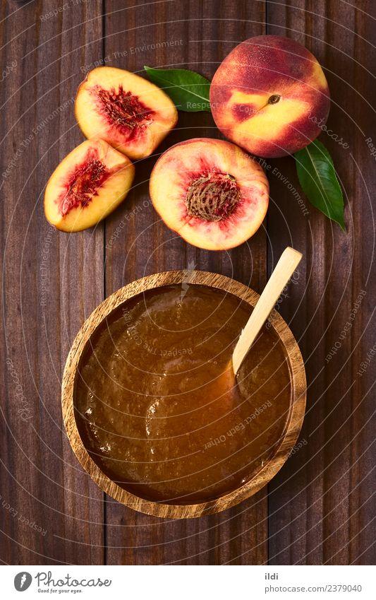Pfirsichmarmelade oder Gelee Frucht Marmelade Frühstück frisch Lebensmittel Götterspeise Aufstrich süß Snack Steinfrucht rustikal Konfiture Top Overhead