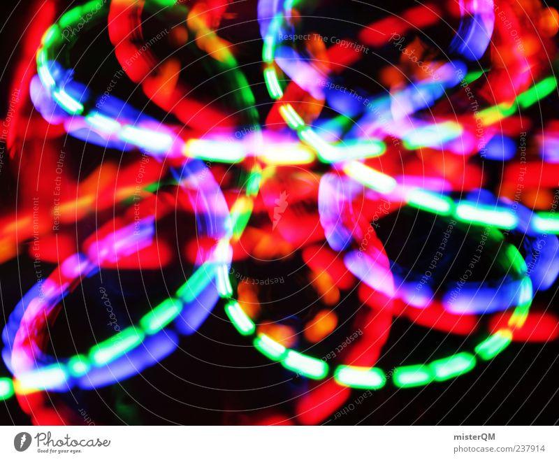 Elektrorummelplatz. Kunst verrückt Geschwindigkeit ästhetisch fantastisch leuchten Alkoholisiert Lichtspiel Lightshow Lichtstrahl durchdrehen neonfarbig Zischen