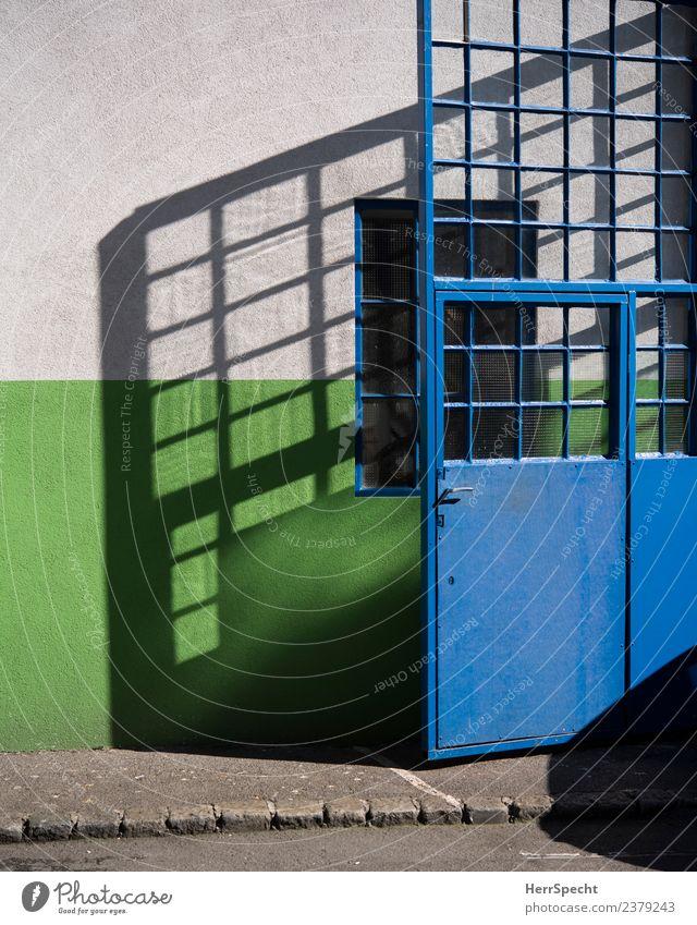 Glastür, die Schatten wirft blau grün Haus Fenster Wand Gebäude Mauer hell Tür eckig sommerlich Schattenspiel Metalltür