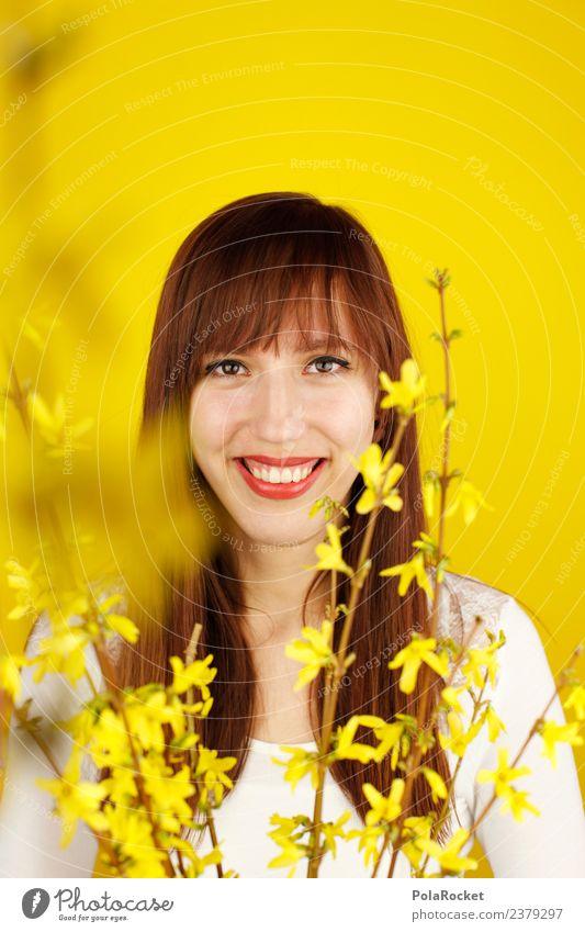 #A# Frühlingsgelb II Kunst Kunstwerk ästhetisch Zufriedenheit Design Frühlingsgefühle Frühlingsblume Frühlingstag Gelbstich gelbgold Frau langhaarig Lächeln