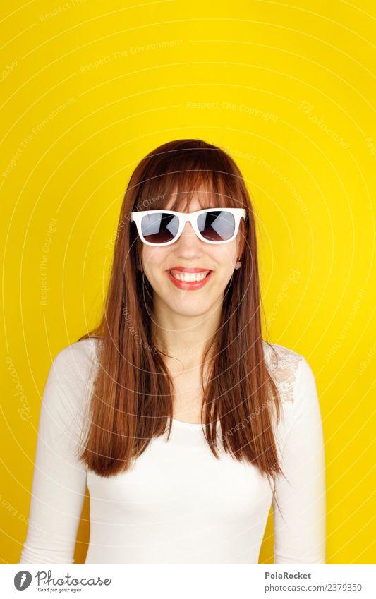 #A# Frühlingsgelb V 1 Mensch Kunst ästhetisch Gelbstich Sonnenbrille langhaarig Lächeln lachen Frau feminin knallig frech Freundlichkeit Farbfoto mehrfarbig