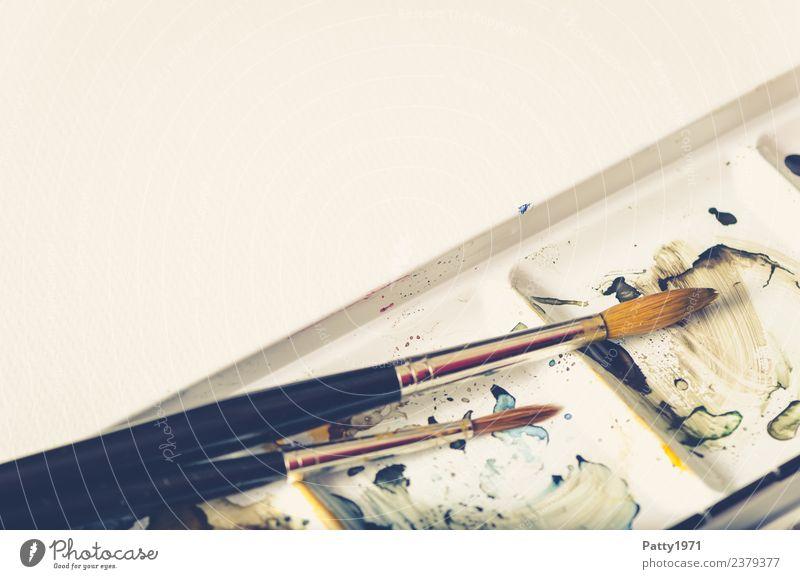Aquarellpinsel Kunst Künstler Maler Gemälde Pinsel Farbkasten zeichnen braun gelb weiß Freude Erholung Kreativität Gedeckte Farben Detailaufnahme Menschenleer
