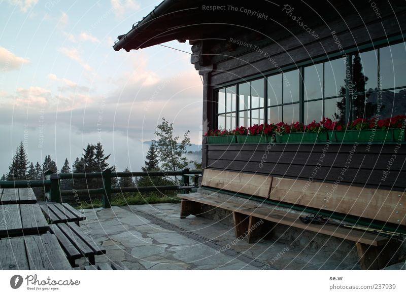 Morning Mood Ferien & Urlaub & Reisen Sommer Wolken Erholung Fenster Berge u. Gebirge Freiheit Autofenster Fassade Tisch Bank Alpen Schönes Wetter Hütte Terrasse Bayern