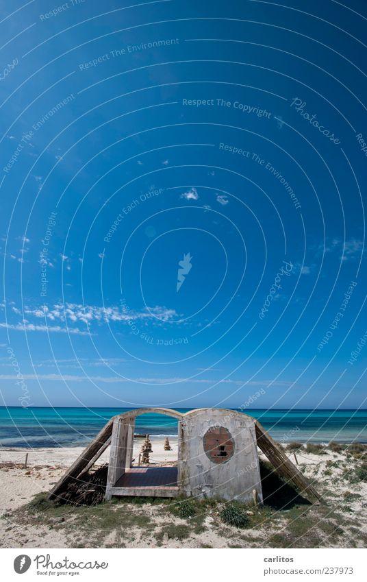 Hier werden sie geholfen Himmel blau Wasser Ferien & Urlaub & Reisen Meer Sommer Strand Ferne Küste Sand Luft Horizont Schwimmen & Baden Wellen Insel Beton