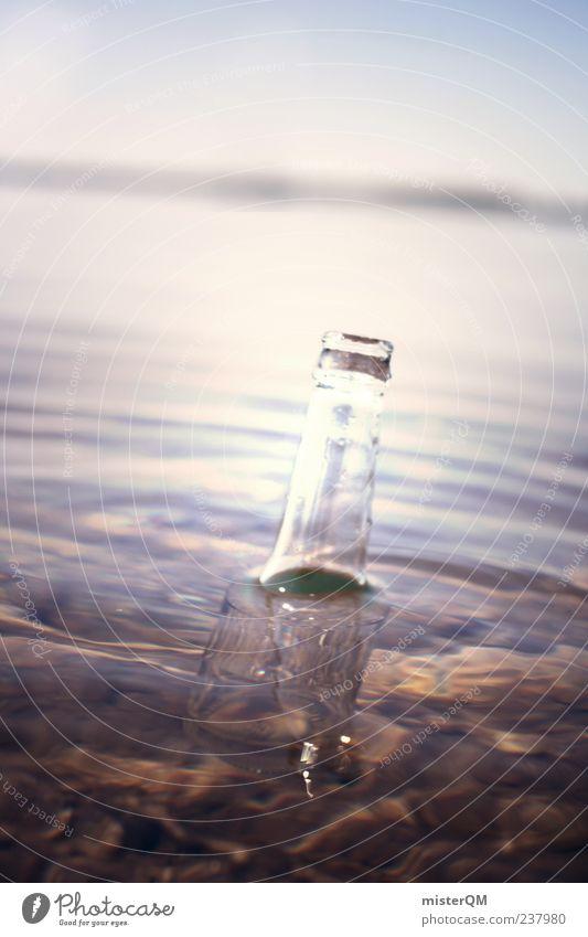 Fünfzehn Mann auf des... Wasser Kunst Stimmung Abenteuer ästhetisch leer Neugier Post geheimnisvoll Seeufer Im Wasser treiben Flasche mystisch Umweltverschmutzung ungewiss Inhalt