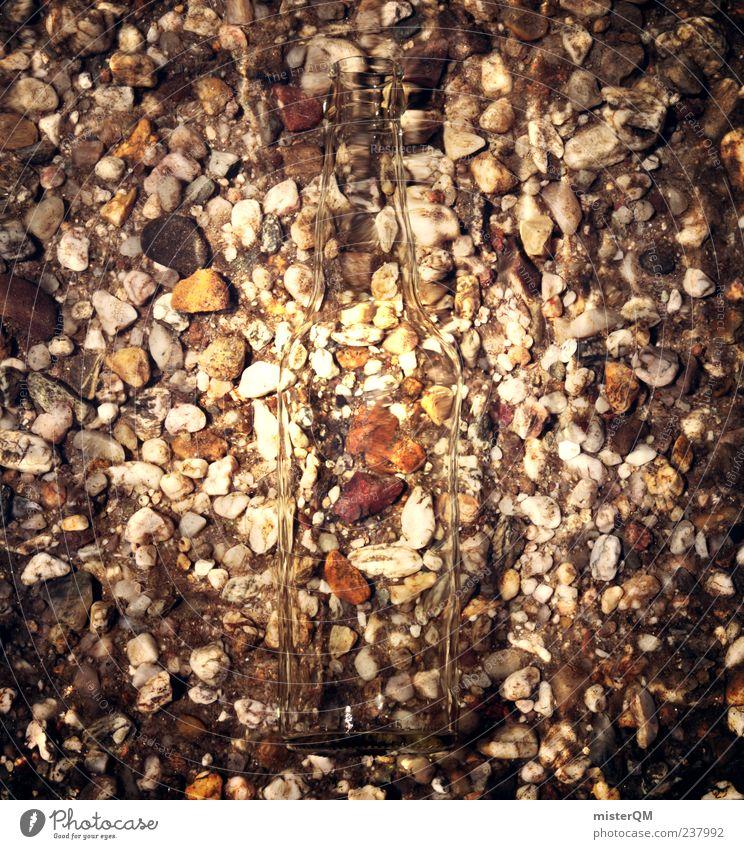 Zweiter Blick. Wasser Meer dunkel Kunst ästhetisch Müll geheimnisvoll Ostsee Flasche schäbig Kies Rätsel untergehen Umweltverschmutzung Genauigkeit Kieselsteine