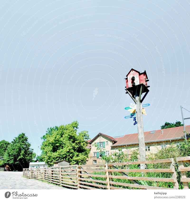 landbewohner Sommer Haus Holz Wege & Pfade Garten Gebäude Dach Ziel Bauwerk Dorf Fußweg Pfeil Bauernhof Zaun Richtung Wolkenloser Himmel