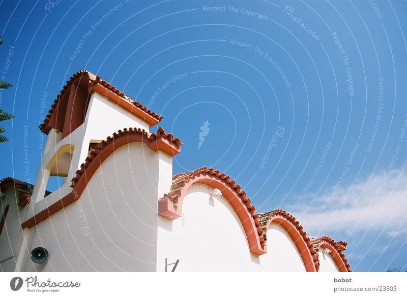 Villa Riba Himmel blau Sonne Ferien & Urlaub & Reisen Haus Perspektive Häusliches Leben Griechenland Mittelmeer Dachziegel Gotteshäuser Kreta