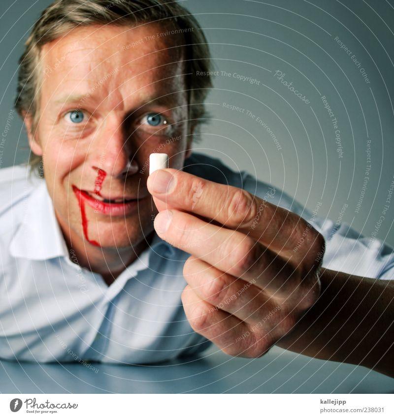 3500_auf die zwölf Mensch Hand rot Gesicht Erwachsene Auge Kopf außergewöhnlich maskulin Finger Gesundheitswesen einzeln Lächeln Zähne Schmerz zeigen