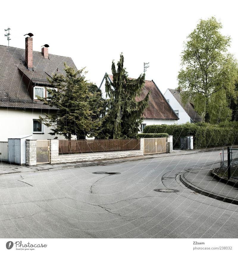 ganz normal Baum ruhig Haus Straße Deutschland trist einfach Zaun Verkehrswege stagnierend Einfamilienhaus Mittelstand Gebäude