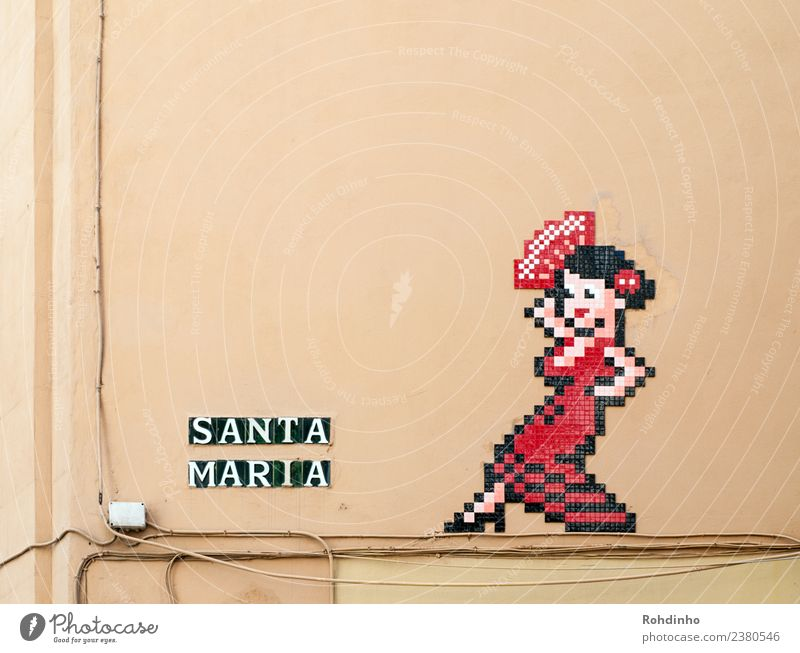 Santa Maria elegant Stil Leben Ferien & Urlaub & Reisen Sommer Entertainment feminin Frau Erwachsene Musik Malaga Spanien Mauer Wand Mode Kleid Fächer