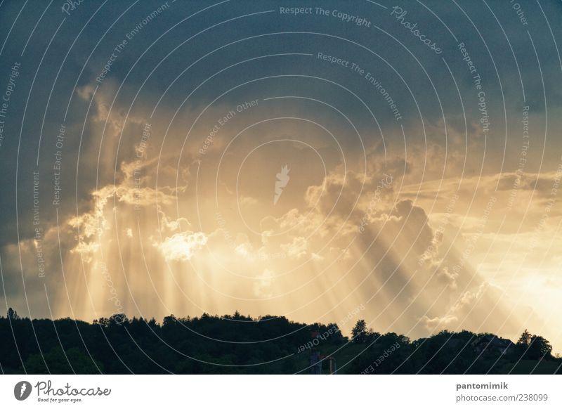 blau Sonne Wolken Wald gelb Landschaft Wetter gold Unwetter Gewitterwolken Sonnenstrahlen Natur Experiment