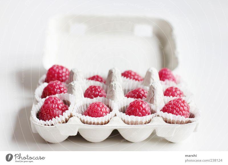 Himbeer-Pralinen Lebensmittel Frucht Dessert Süßwaren Ernährung süß rosa rot weiß Verpackung Kasten Schachtel Himbeeren Beeren klein Konfekt himbeerpralinen