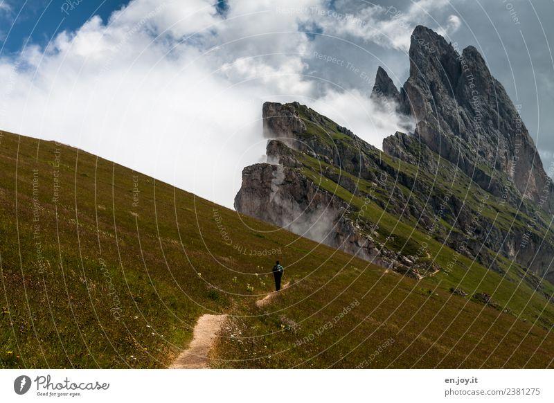 auf der Sonnenseite Mensch Natur Ferien & Urlaub & Reisen Mann Sommer Landschaft Erholung Wolken Ferne Berge u. Gebirge Erwachsene Wege & Pfade Wiese Tourismus