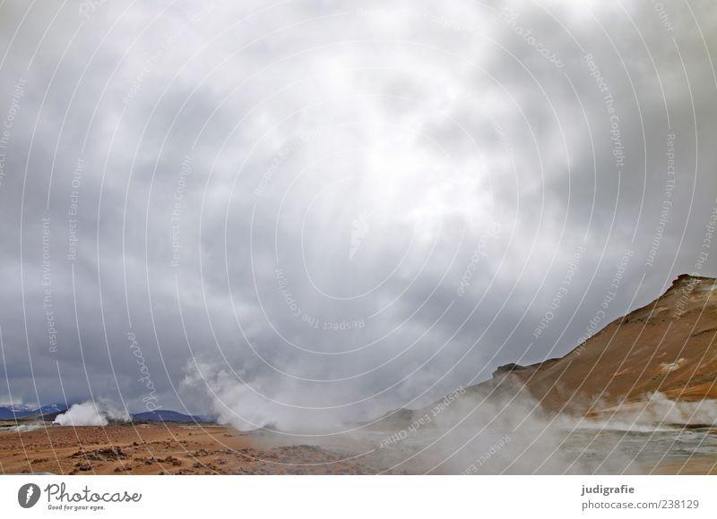 Island Umwelt Natur Landschaft Urelemente Himmel Wolken Hügel Vulkan Solfatarenfeld heiß natürlich wild Farbfoto Außenaufnahme Menschenleer Tag Naturphänomene