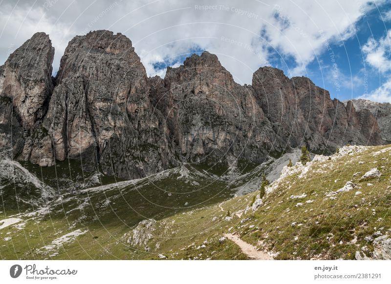 Geislergruppe Ferien & Urlaub & Reisen Ausflug Abenteuer Berge u. Gebirge wandern Natur Landschaft Wolken Sonnenlicht Sommer Klima Klimawandel Wiese Hügel