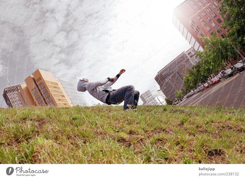 lass los! Mensch Himmel Natur Mann Pflanze Wolken Haus Erwachsene Wiese Leben Gras Stil Park außergewöhnlich maskulin Hochhaus