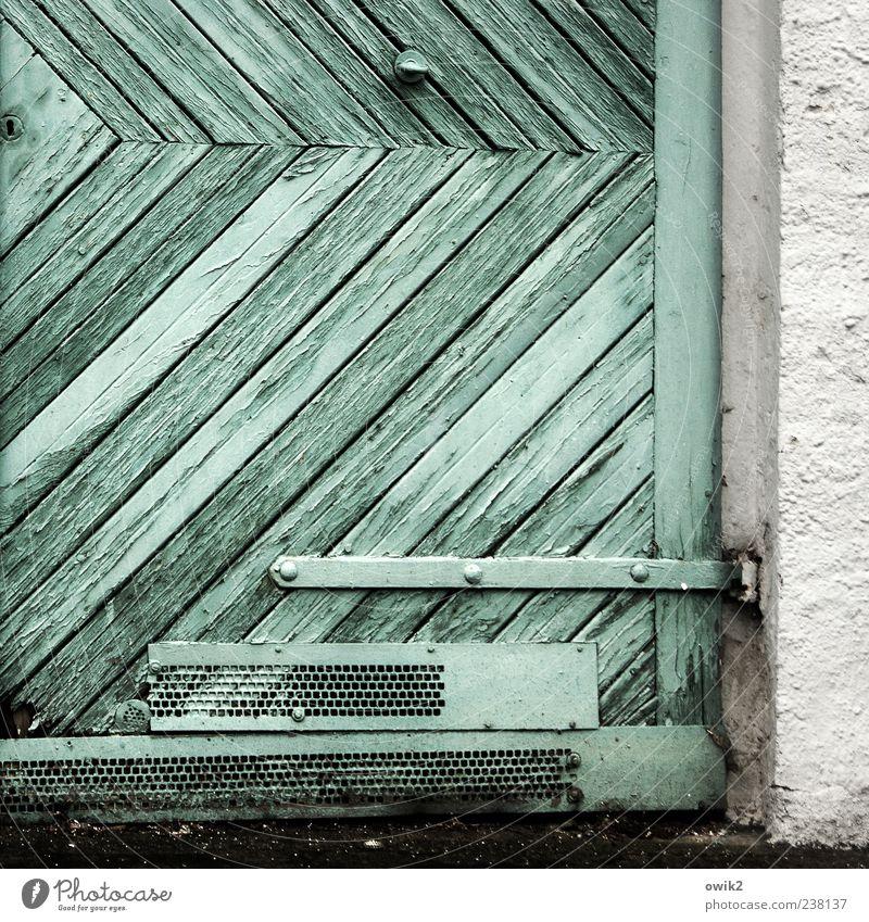 Unscheinbare Winkel Befestigung Scharnier Holztor Mauer Wand Tür Garagentor alt dreckig einfach hell trist grau schwarz weiß Farbe einfarbig türkis Niete