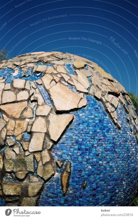 Splitterglobus Globus Planet Kunst Afrika Europa Asien Handwerk Erde Musaik blau Stein