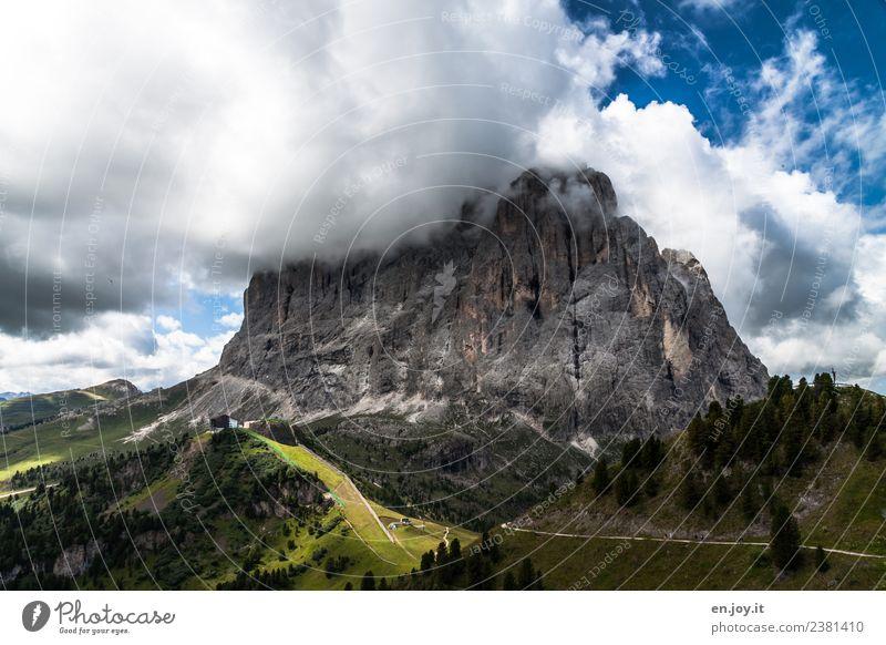 Langkofel Natur Ferien & Urlaub & Reisen Sommer Landschaft Wolken Ferne Berge u. Gebirge Umwelt Tourismus Freiheit Felsen Ausflug wandern Abenteuer Italien