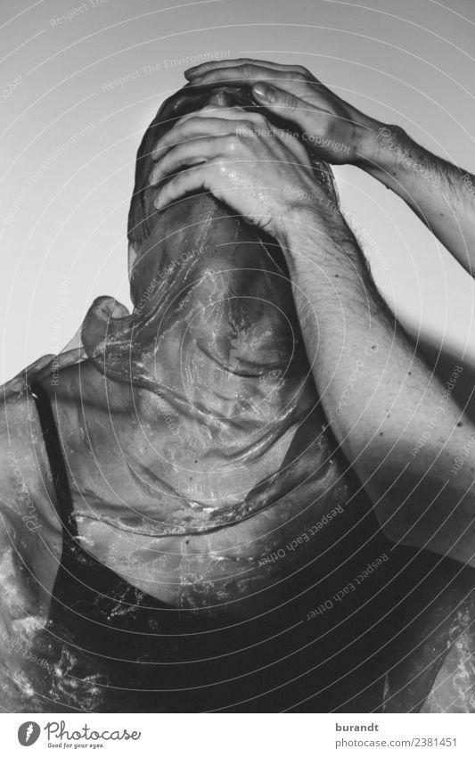 Shut Up! Körper maskulin androgyn Junger Mann Jugendliche Kopf Arme Hand Oberkörper 1 Mensch Theaterschauspiel Stoff Tuch berühren kämpfen Ekel nass rebellisch