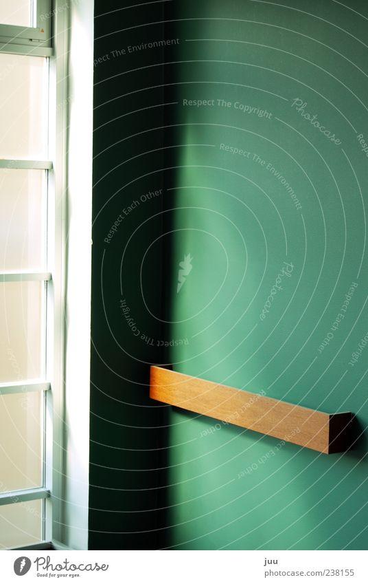 schöne Ecke Mauer Wand Fenster Zimmerecke Holz Glas braun grün weiß Farbfoto Innenaufnahme Menschenleer Tag Licht Schatten Sonnenlicht