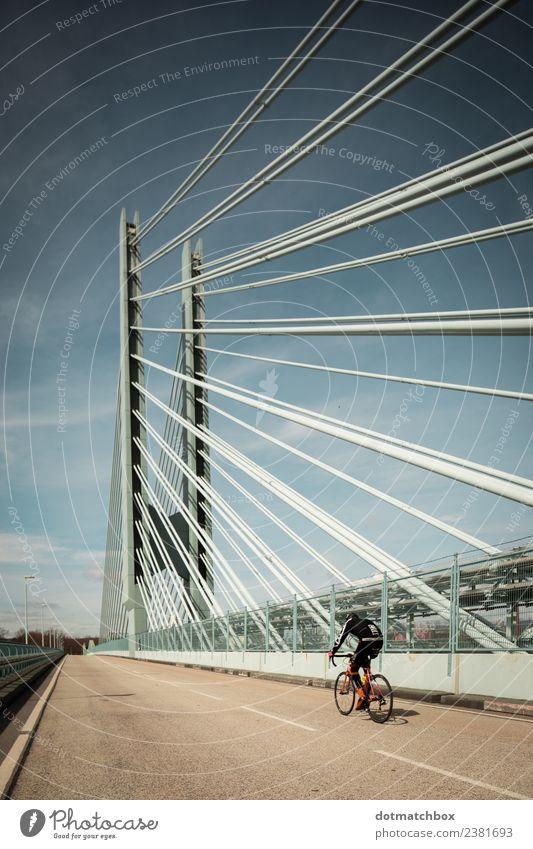 The bridge and the cyclist Sport Fahrradfahren Industrie Stadt Brücke Straße Erholung Fitness genießen blau gelb grau türkis Freiheit Freizeit & Hobby Freude
