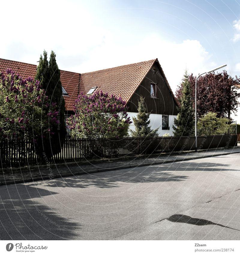 stinknormal Baum Haus Straße Architektur Wege & Pfade Deutschland Wohnung Ordnung authentisch Häusliches Leben Sträucher trist retro Idylle einfach Bauwerk
