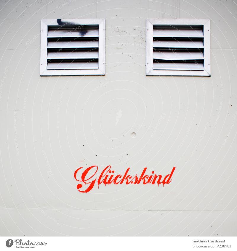 GLÜCKSKIND Mauer Wand Fassade Zeichen Schriftzeichen Graffiti eckig trendy einzigartig Gefühle Freude Glück Fröhlichkeit Zufriedenheit Schablone rot Beton weiß