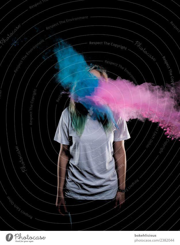 Color Explosion II schön Körper Feste & Feiern Mensch feminin Junge Frau Jugendliche 1 18-30 Jahre Erwachsene Kunst T-Shirt frech frei Freude Reinlichkeit