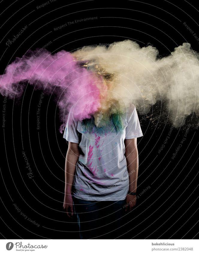 Color Explosion I Design Freude Mensch feminin Junge Frau Jugendliche Körper 1 18-30 Jahre Erwachsene Kunst T-Shirt fliegen Coolness dreckig gelb violett Farbe