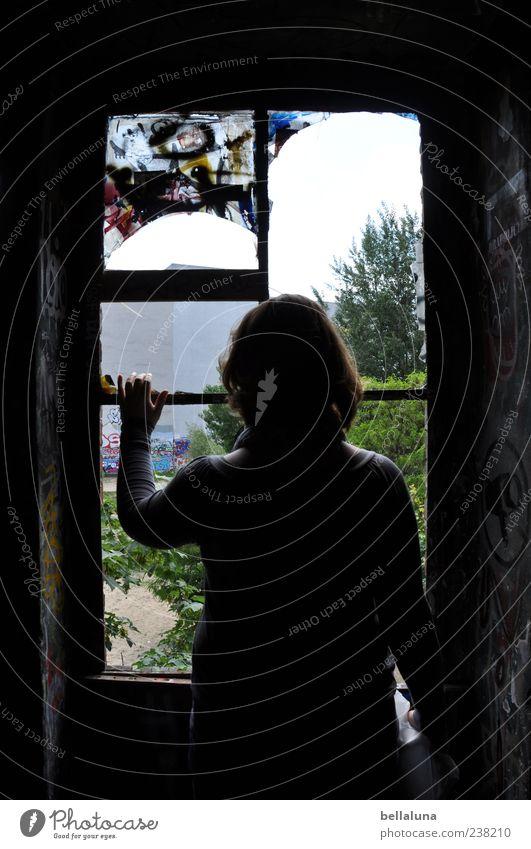 Fotoline Mensch feminin Frau Erwachsene Leben Kopf Haare & Frisuren Rücken Arme Hand Finger 1 Natur Landschaft Pflanze Sommer Schönes Wetter Baum Sträucher