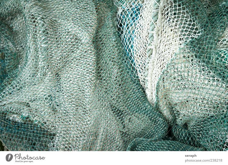 Netz Fischernetz Fischereiwirtschaft Seil Material geflochten Strukturen & Formen Hintergrundbild maritim liegen Menschenleer Vogelperspektive