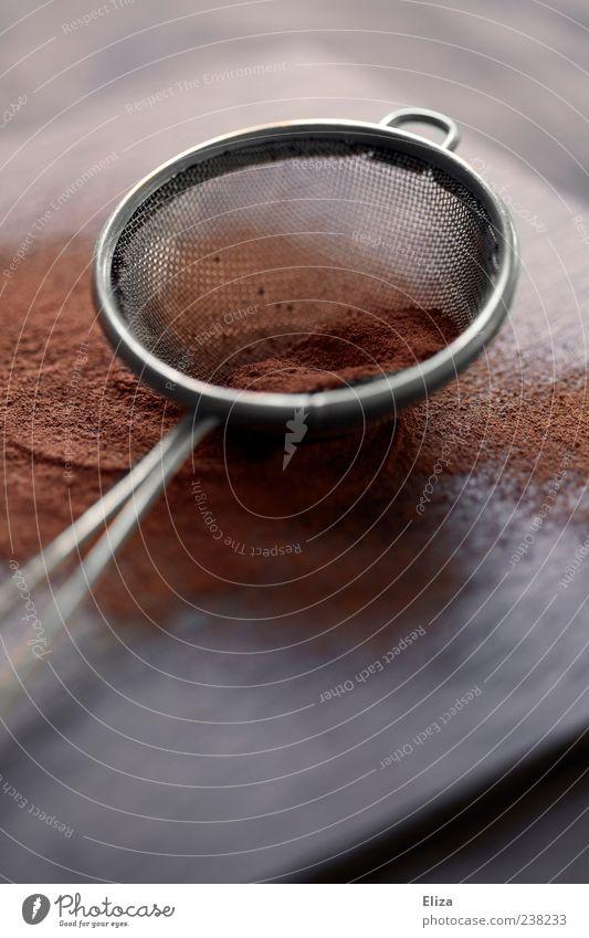 Kakao Sieb braun Küche Ernährung Gedeckte Farben Textfreiraum unten Schwache Tiefenschärfe Schokolade Pulver