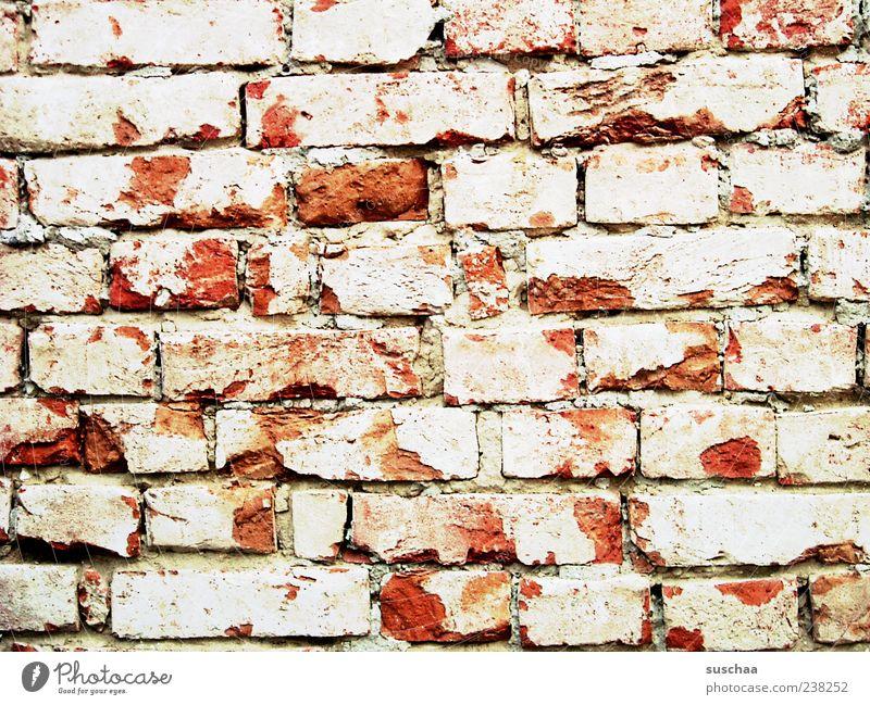 die mauer .. rot Wand Stein Mauer geschlossen Beton verfallen Backstein Verfall Barriere hart verwittert Backsteinwand Sichtschutz