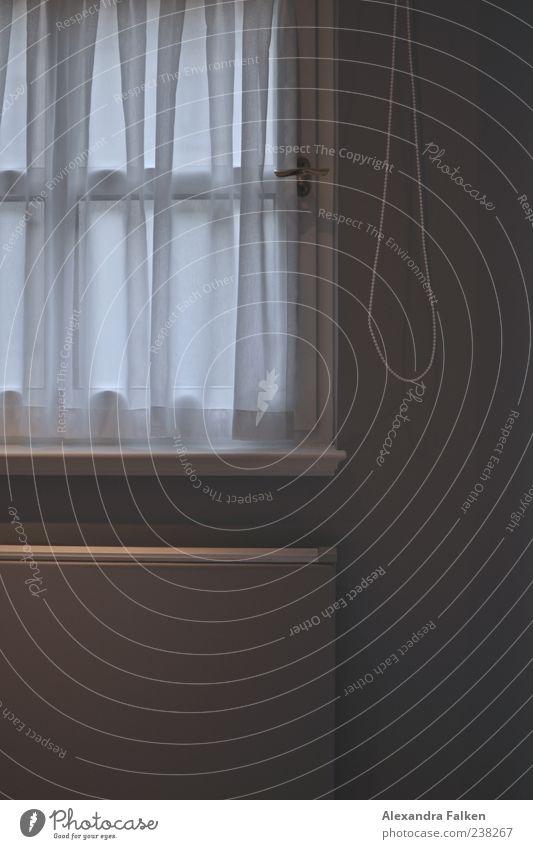 Ohne Aussicht Haus Fenster Wand grau hell geschlossen Häusliches Leben Schnur Falte Vorhang Stillleben Gardine Griff Heizung Transparente Fensterbrett