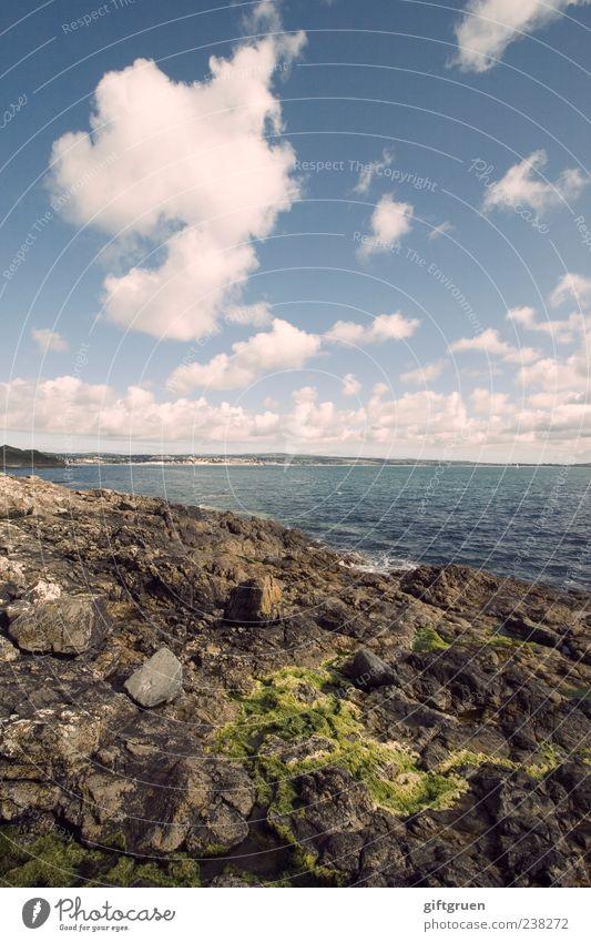as far as my sight carries me Himmel Natur blau Wasser schön Meer Wolken Ferne Umwelt Landschaft Küste Stein Erde Wellen Felsen Klima