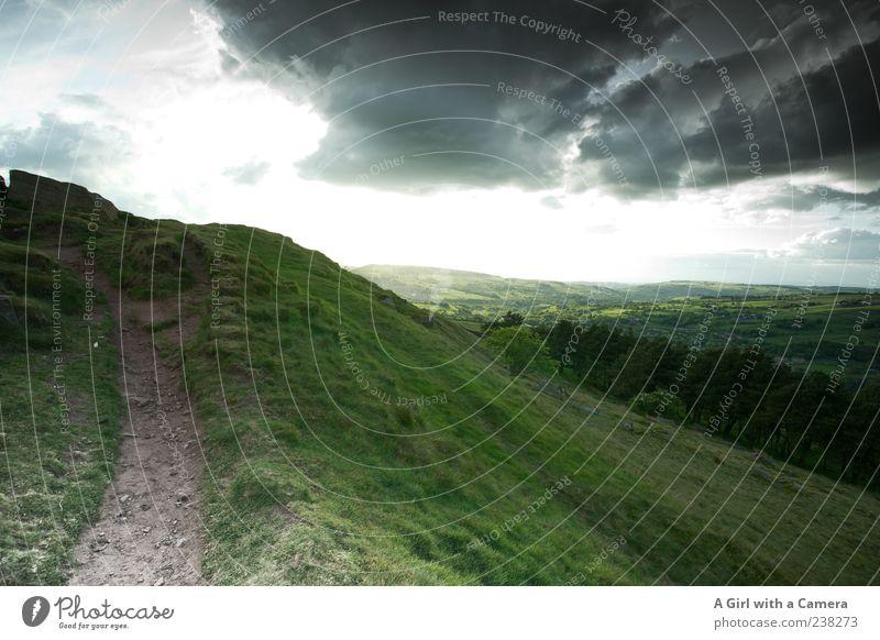 uncontrolability Umwelt Natur Landschaft Himmel Wolken Gewitterwolken Frühling Sommer Klima Klimawandel Wetter Schönes Wetter schlechtes Wetter Gras Hügel