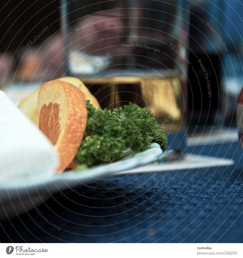 Je suis repu ! Lebensmittel Salat Salatbeilage Frucht Orange Ernährung Mittagessen Abendessen Teller Glas frisch blau grün Geborgenheit Appetit & Hunger